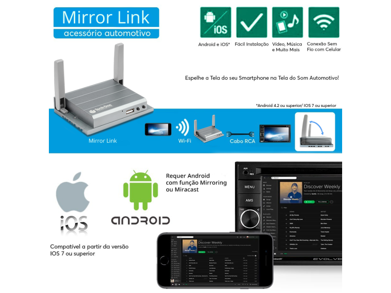 Mirror Link Espelhamento de Tela Iphone Android na Central Multimídia DVD  WiFi RCA - TechOne