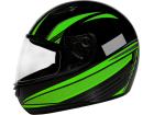 Capacete Motociclista Sky Apolo Preto Brilho com Verde