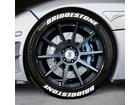 Adesivo Pneu Esportivo Bridgestone + Bridgestone Branco 1,5cm