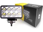 Farol Auxiliar Retangular 8 LED 6000K 12-24V 24W 1600lm