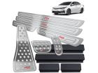 Kit Pedaleira Descanso Soleira Corolla XRS 15/.. Câmbio Automático Alto Relevo Prata