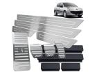 Kit Pedaleira Descanso Soleira Peugeot 207 Câmbio Manual Baixo Relevo Prata