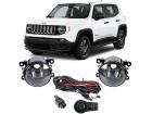 Kit Farol de Milha Neblina Jeep Renegade PCD 19/.. Kit Completo Botão Modelo Original