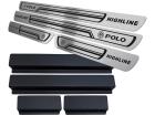 Soleira de Porta Polo Highline 18/.. Aço Inox Baixo Relevo Preto + Vinil
