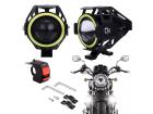 Kit Farol Auxiliar Milha Led para Moto com Angel Eyes Universal Alto Baixo DRL Estrobo Luz Branca 6000K