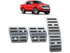 Pedaleira Ford Ranger 2017/.. Manual em Aço Inox - Listrado Preto