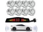 Sensor de Estacionamento 8 Pontos Prata Universal com Display de Led Colorido Sinal Sonoro