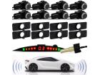 Sensor de Estacionamento Modelo Original 8 Pontos Preto Brilho Universal com Display Slim de Led Colorido Sinal Sonoro Acabamento OEM - TechOne