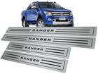 Soleira Ford Ranger CD 13/... em Aço Inox - Baixo Relevo Preto