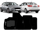 Tapete Focus 14/.. Hatch / Sedan 5 pçs Preto Carpete Bordado Ecotap